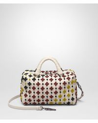 Bottega Veneta - Top Handle Bag In Mist Multicolor Embroidered Intrecciato Nappa - Lyst