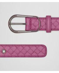 Bottega Veneta - Pink Belt In Peony Intrecciato Nappa - Lyst