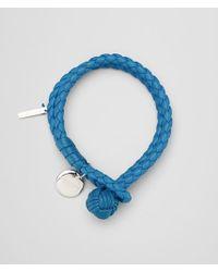 Bottega Veneta - Blue Bracelet In Peacock Intrecciato Nappa - Lyst