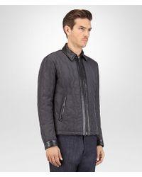 Bottega Veneta - Gray Blouson In Dark Ardoise Nylon And Nero Leather With Stitching Embroidery Detail for Men - Lyst