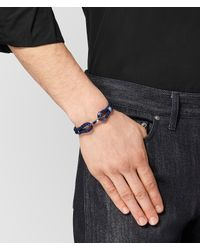 Bottega Veneta - Blue Atlantic Leather/oxidized Silver Bracelet for Men - Lyst