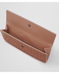 Bottega Veneta - Brown Dahlia Intrecciato Nappa French Wallet - Lyst