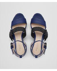 Bottega Veneta - Blue Atlantic/nero Nappa Espadrille Wedge - Lyst