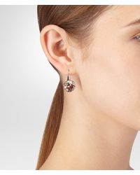 Bottega Veneta - Brown Cubic Zirconia Silver Earring - Lyst