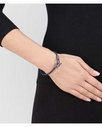 Bottega Veneta - Blue Bracelet In Pacific Intrecciato Nappa And Silver - Lyst