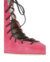 Malone Souliers - Pink Suede Lace Up Heels - Lyst