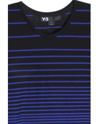 Y-3 - Blue Striped T-shirt for Men - Lyst