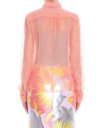Rochas - Pink Oraganza Ruffle Shirt - Lyst