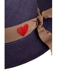 Sensi Studio - Blue Panama Hat With Embroidered Heart - Lyst