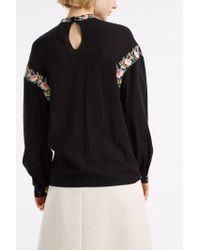 Vilshenko - Black Gwen Flower Embroidered Blouse - Lyst