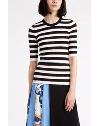 MSGM - Black Short Sleeve Stripe Jumper - Lyst