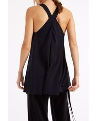 Helmut Lang - Blue Crepe Satin Top - Lyst