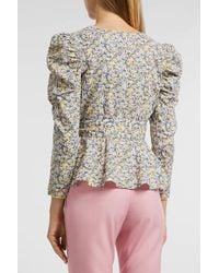 Rebecca Taylor - Multicolor Pansies Ruffle Top, Size M, Women - Lyst