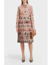 Altuzarra - Pink Chika Peacock Feather Print Silk Blouse - Lyst