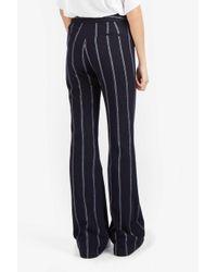 10 Crosby Derek Lam | Blue Stripe Flannel Flare Trouser | Lyst