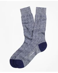 Brooks Brothers - Blue Marled Cable Crew Socks for Men - Lyst
