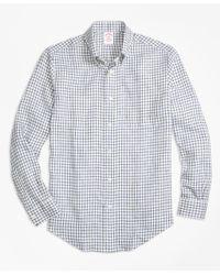 Brooks Brothers | Blue Madison Fit Windowpane Irish Linen Sport Shirt for Men | Lyst
