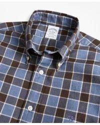 Brooks Brothers - Blue Regent Fit Plaid Brushed Oxford Sport Shirt for Men - Lyst