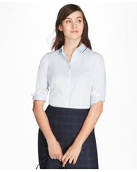 Brooks Brothers - Blue Non-iron Tailored-fit Chevron Dobby Cotton Poplin Shirt - Lyst
