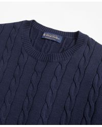 Brooks Brothers - Blue Supima® Cotton Cable Crewneck Sweater for Men - Lyst