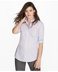 Brooks Brothers | Purple Non-iron Multi-stripe Cotton Poplin Fitted Dress Shirt | Lyst