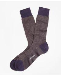 Brooks Brothers - Green Herringbone Crew Socks for Men - Lyst