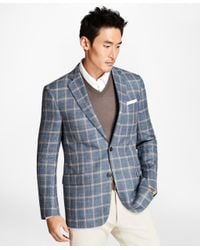Brooks Brothers - Regent Fit Light-blue With Tan Windowpane Sport Coat for Men - Lyst
