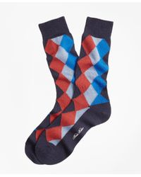 Brooks Brothers - Blue Solid With Argyle Crew Socks for Men - Lyst