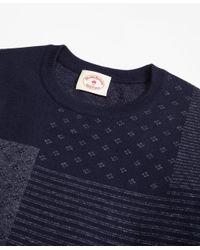 Brooks Brothers - Blue Patchwork Cotton Jacquard Crewneck Sweater for Men - Lyst