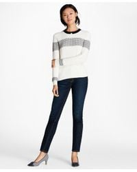 Brooks Brothers - White Tuck-stitch Cotton Sweater - Lyst