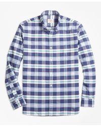 Brooks Brothers Blue Plaid Supima® Cotton Oxford Sport Shirt for men