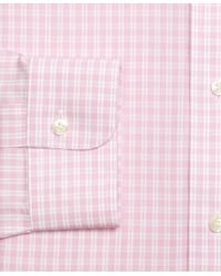Brooks Brothers - Pink Regent Fitted Dress Shirt, Non-iron Twin Gingham for Men - Lyst