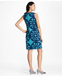 Brooks Brothers - Blue Medallion-print Stretch-cotton Shift Dress - Lyst