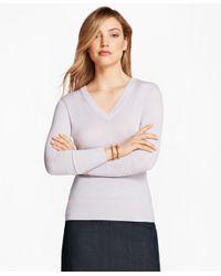 Brooks Brothers   Purple Saxxon Wool V-neck Sweater   Lyst