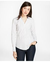 Brooks Brothers - White Petite Fitted Non-iron Striped Cotton Poplin Shirt - Lyst