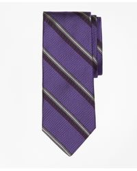 Brooks Brothers | Purple Textured Split Sidewheeler Stripe Tie for Men | Lyst