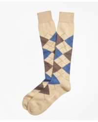 Brooks Brothers | Natural Cotton Argyle Over-the-calf Socks for Men | Lyst