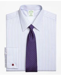 Brooks Brothers | Blue Non-iron Milano Fit Hairline Framed Stripe French Cuff Dress Shirt for Men | Lyst