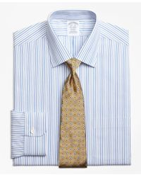 Brooks Brothers | Blue Non-iron Regent Fit Alternating Framed Stripe Dress Shirt for Men | Lyst