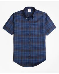 Brooks Brothers | Blue Madison Fit Plaid Irish Linen Short-sleeve Sport Shirt for Men | Lyst