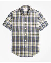 Brooks Brothers | Green Madison Fit Large Plaid Irish Linen Short-sleeve Sport Shirt for Men | Lyst