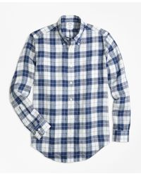 Brooks Brothers | Blue Regent Fit Grid Check Irish Linen Sport Shirt for Men | Lyst