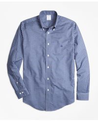 Brooks Brothers | Blue Non-iron Regent Fit Heathered Tattersall Sport Shirt for Men | Lyst