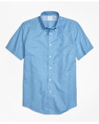 Brooks Brothers   Blue Non-iron Milano Fit Heathered Oxford Short-sleeeve Sport Shirt for Men   Lyst