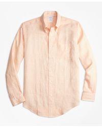 Brooks Brothers | Natural Regent Fit Gingham Irish Linen Sport Shirt for Men | Lyst
