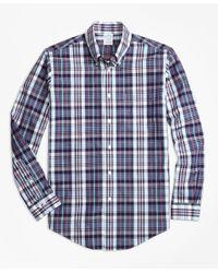 Brooks Brothers | Blue Regent Fit Slub Cotton Plaid Sport Shirt for Men | Lyst
