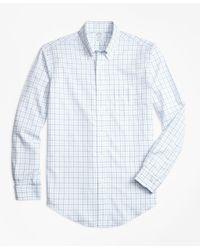 Brooks Brothers | Blue Non-iron Brookscool® Regent Fit Tonal Windowpane Sport Shirt for Men | Lyst