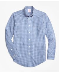 Brooks Brothers   Blue Non-iron Regent Fit Small Check Sport Shirt for Men   Lyst