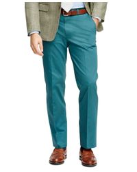 Brooks Brothers - Blue Fitzgerald Fit Plain-front Cotton Dress Trousers for Men - Lyst