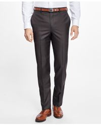 Brooks Brothers | Brown Regent Fit Stretch Wool Trousers for Men | Lyst